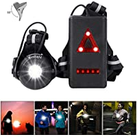 WESTLIGHT Run Light, 90° Adjustable Beam Angle, 500 Lumens, 360° Reflective Band, USB Rechargeable Waterproof Running Night LED Chest Lights