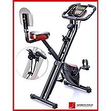 Sportstech F-Bike X100 bicicleta estática con banda elástica patentada 4KG inercia respaldo ejercicio de cardio soporte para tablet bidireccional freno magnético sin escalones sensor pulso plegable (con respaldo)