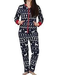 Ropa de dormir de las mujeres Señoras Manga larga Otoño invierno Sudaderas 3D Navidad Alce Impreso Suelto Casual Pijama Ropa de dormir Mono Sudadera Pullover Tops Blusa Camisa Abrigos Outwear LMMVP (M, Armada)