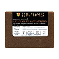 Sandalwood Scrub Handmade Soap with Coconut Oil by Soulflower, (5.3Oz) 100% Natural, Organic, Vegan & Coldprocessed, USFDA approved, SLS Free - Brightening & Exfoliating - Indian Formulation