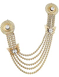 FURE Double Metal Buttefly Chain Brooch for Men & Women (Golden)