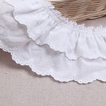 Broderie Anglaise Lace Gathered Frilled or Flat White x 2 Meters