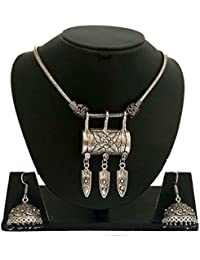 The Trendy Trendz Oxidised German Silver Metal Gypsy Style Pendant Necklace Jewellery For Girls And Women (Navratri...