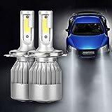 AGM 2x Lampe Ampoule LED COB Voiture H4 110W 9200LM Phare Headlight de Haute Puissance avec Lumière Pur Blanche 6000K Kit de Conversion de Rechange Auto Eclairage Feu Lumière pour Voiture Véhicule Automobile - H4