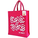 INDOZY Flowers Jute Hand Bag with Zip, Bottle Holder, Spoon Pocket (Pink)