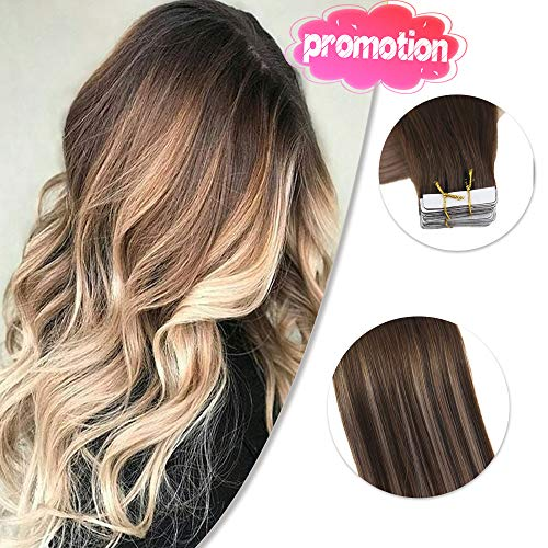 Remy Tape in Extensions 16 zoll 50g 20Stück pro Paket Farbe #4/18 4 Fading zu 18 Tape in Kleber Extensions