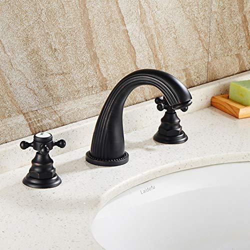 Wasserhahn europäischen schwarzen antiken 8-Zoll-Becken drei-Loch-Becken Split Wasserhahn Messing schwarz Bronze Split dreiteiligen Wasserhahn