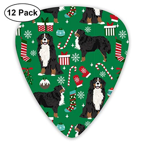 Breed Christmas Stockings Pet Lovers Holiday Green Classic Celluloid Picks, 12-Pack, For Electric Guitar, Acoustic Guitar, Mandolin, And Bass ()