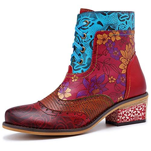 DoraTasia Ankle Bootie für Damen Vintage Handmade Fashion Lederstiefel Printed Floral Shoes Schnürstiefel Open-back Ankle Boots