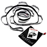 FlexFixx STRETCH STRAP - Best for Yoga, Physical Therapy, Recovery, Rehabilitation, Dance, Fitness, Pilates - 12 Loops, Padded Footrest, Mesh Bag and User Guide - Stretching Band GREY