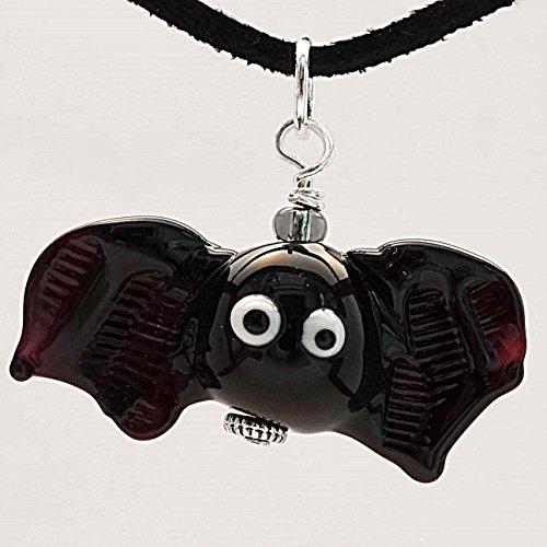 Halloween-Schmuck-Anhänger Fledermaus FRIEDA | Glas-Schmuck | Murano-Glas | Unikat | handmade...