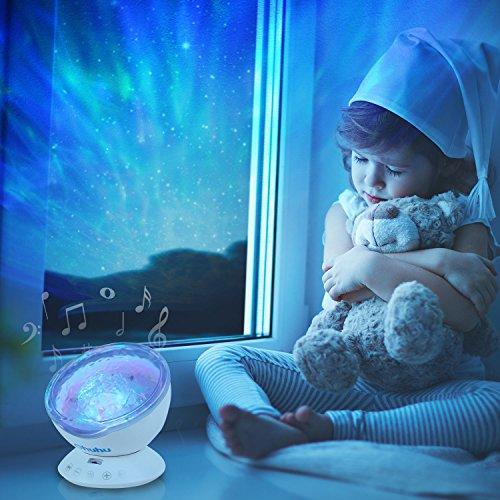 Nachtlicht, Ohuhu Ozean Projektor Fernsteuerung Nachtlicht Ozeanwellen Lichtprojektor 7 Farben mit eingebautem Lautsprecher (Mp3-player Vorinstallierte)