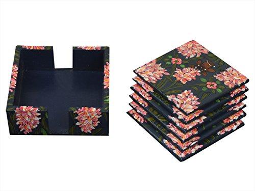 Store Indya, Holz Untersetzer für Tee Kaffeetasse Tabletop Barware Set von 6 Untersetzer handbemalt Floral gestaltete Esszimmer Zubehör Home Decor -