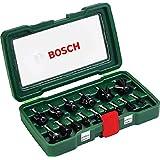 Bosch 15tlg. Fräser Set (Holz, Zubehört für Oberfräsen mit 8 mm Schaft)