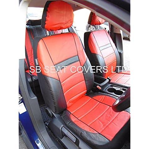 Rossini Fundas de asiento, para Toyota Hilux/Surf, rojo, hechas de piel sintética