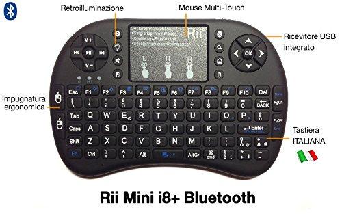Rii Mini i8+ Bluetooth (layout ITALIANO) - Mini tastiera retroilluminata con mouse touchpad per Tablet, Smartphone, Mini PC, Computer, PlayStation, HTPC - Colore NERO