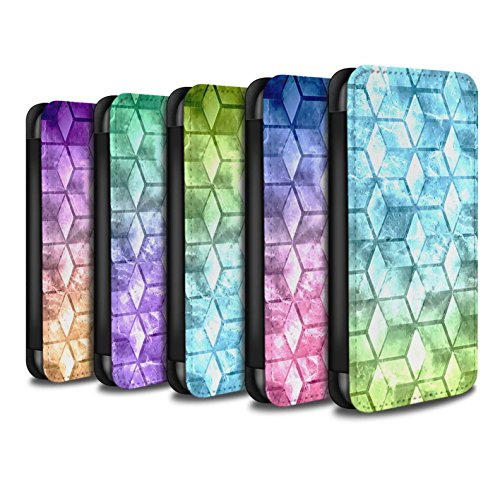 Stuff4 Coque/Etui/Housse Cuir PU Case/Cover pour Apple iPhone X/10 / Rouge / Vert Design / Cubes colorés Collection Multipack