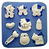 Inception Pro Infinite Silikonform für die Ernährung von 9 Zubehör für Kinder - Wiege - Kinderwagen - Schaukelpferd - Babygesicht - Lätzchen - Herz Brosche - kleines Herz mit Bogen - Kinderwagen