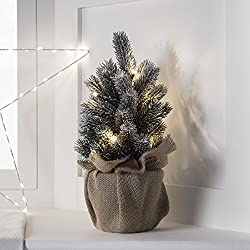 Lights4fun Mini Sapin de Noël Artificiel avec 8 LED Blanc Chaud à Piles, 30cm