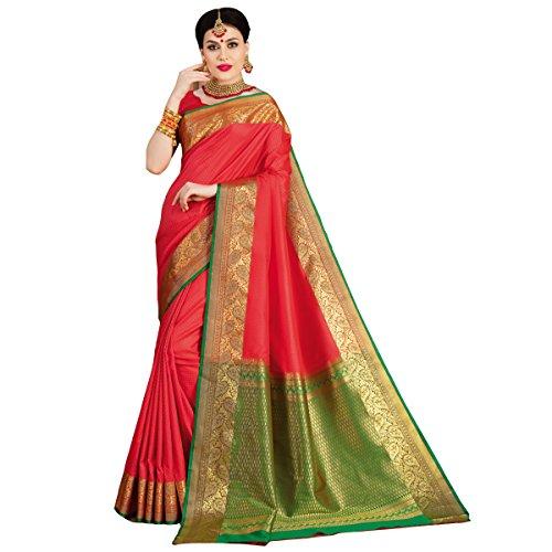 Craftsvilla Women's Bangalore Silk Traditional Zari Border Red Saree with Blouse Piece