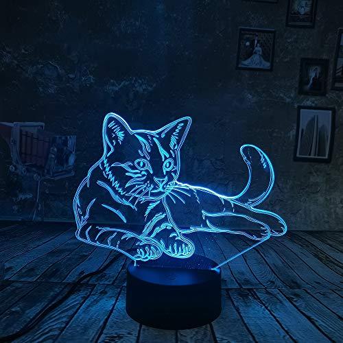 WangZJ 3d Illusion Lampe / 3d Nachtlicht / 7 Farben Touch/Kinder 3d Illusion Nachtlicht/Acryl Led Kunst/Katze (Bausteine Japanische)