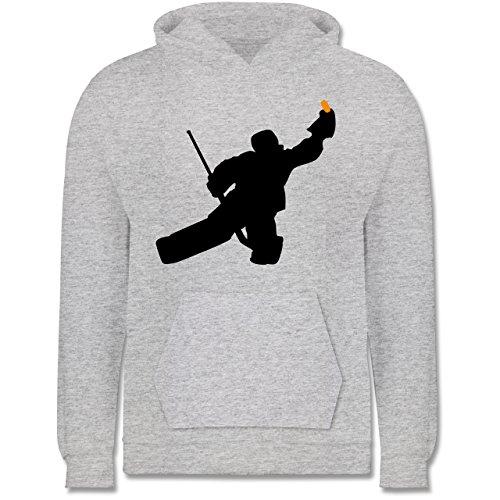 Sport Kind - Towart Eishockey Eishockeytorwart - 12-13 Jahre (152) - Grau meliert - JH001K - Kinder Hoodie