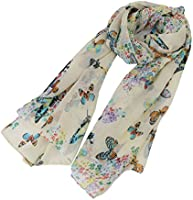 EJY Women Lady Chiffon Butterfly Print Scarf Neck Shawl Scarf Soft Scarves Wrap Stole