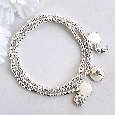 Trois bracelets argent massif soleil, lune, étoile, cadeau pour femme