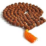 DHYANARSH Certified 5 Mukhi Rudraksha Mala for Pooja (Astrology) for All Rashis for Unisex (108 +1 Beads) Diameter 5mm