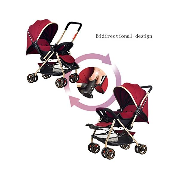 Luxury Baby Stroller Light High-Landscape Pram Portable Folding Umbrella Baby Carriage Baby Stroller on The Airplane (Color : Red) AILI-pushchairs Ten wheel front wheel four-wheel suspension, built-in bearing steering flexible four-wheel shock absorber to reduce bumps. It can be used to sit and recline freely to adjust the seasons. The measured width is wide and comfortable, creating a comfortable sleeping environment for the baby. 3