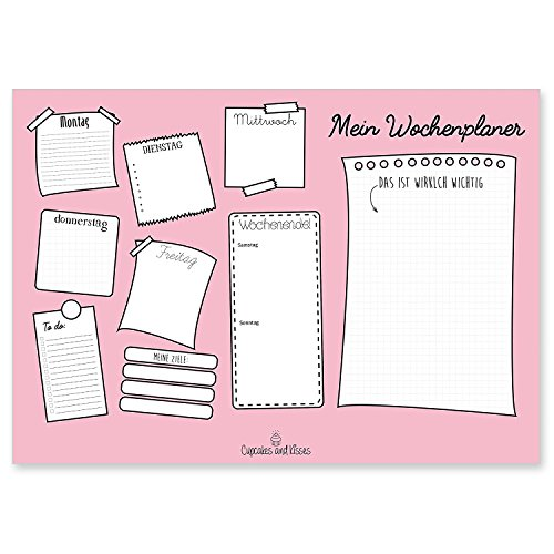 """CUPCAKES & KISSES® Schreibtischunterlage""""Emily"""" zum abreißen I DIN A3 groß I Papier: weiß I 25 Seiten I Schreibunterlage für Notizen I Wochenplaner"""