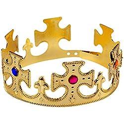 Sungpunet Divertidos Sombreros del Partido - Corona Ajustable de Oro y Jeweld Corona roja