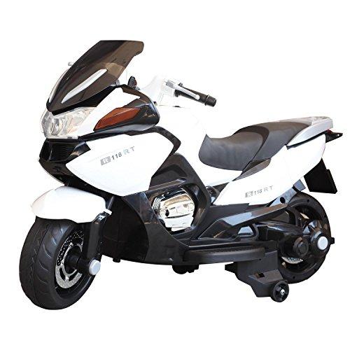 HOMCOM Children Ride On Toy Bike Kids Motorcycle 12V Battery (White)