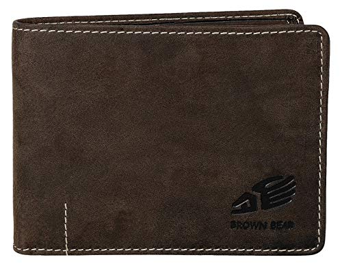 Brown Bear Geldbörse Herren Querformat Leder Braun Vintage hochwertig Männer Geldbeutel Portemonnaie Portmonee Portmonaise