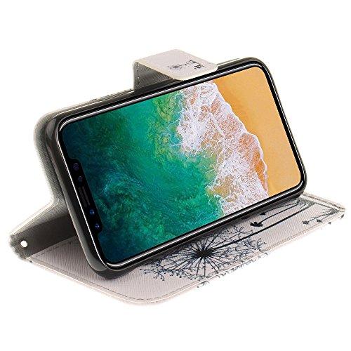 CLM-Tech Custodia Pelle Sintetica per Apple iPhone X Flip Case con funzione supporto Acchiappa Sogni rosa grigio Tarassaco Ragazzo e Ragazza