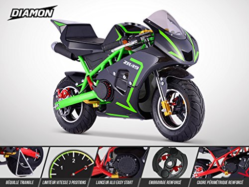 Pocket Course ZR 49 - DIAMON - Mini Moto Enfant 50cc - Vert