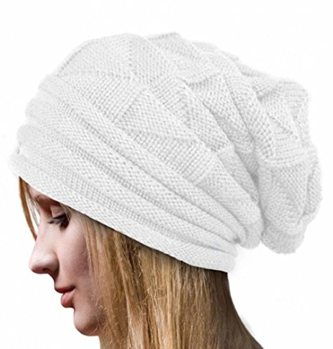 ZEZKT Knit Beanie Trendige Unisex, Dicke Weiche Warme Winter Mütze Cap (Weiß)