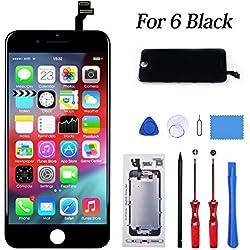 KeepTop Ecran pour iphone 6 Noir, Retina Ecran Tactile avec Kit Outils de Réparation Vitre Tactile LCD Écran de Remplacement pour iPhone 6 4.7 Pouces (Black)