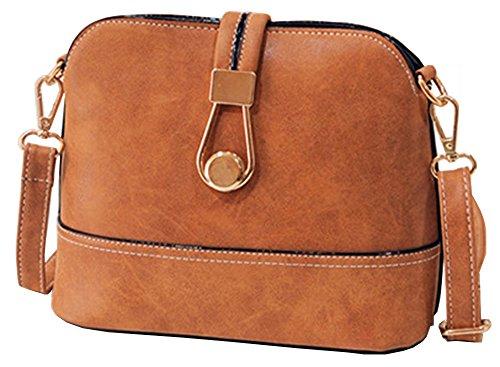 femme-vintage-pu-cuir-sleek-sacs-a-bandouliere-shell-sac-a-main-brun