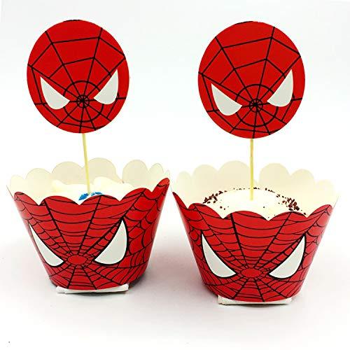 51v 7WMRnCL - 96 piezas de superhéroes Cupcake Envoltorios Toppers Decoraciones de mesa para pasteles Artículos de fiesta 4 estilos-Spiderman Superman Batman Capitán Fiesta de cumpleaños Favores de decoración
