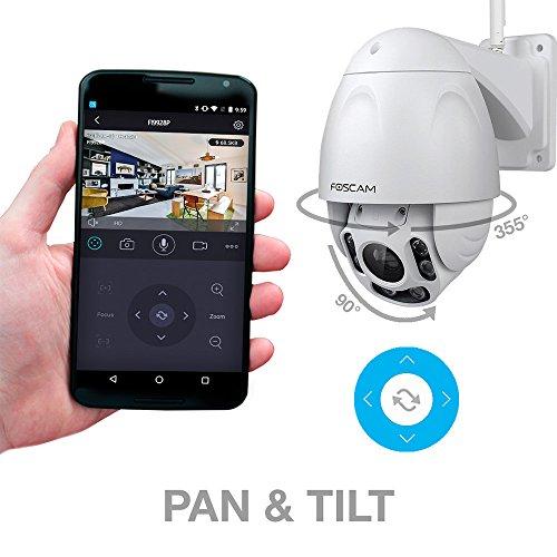 Foscam FI9928P – Full HD Outdoor Kamera I Überwachungskamera mit 4x Zoom I IP-Kamera mit 60m Nachtsicht und Bewegungserkennung I WLAN Kamera mit Fernzugriff App und microSD-Kartenslot