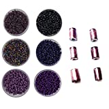 #7: eshoppee 8/0 glass Seed beads for jewellery making, art & craft diy kit Set of 6 Colors , 20Gm X 6 colors