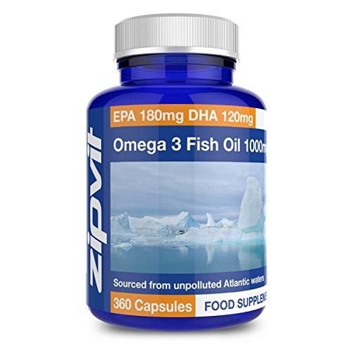 Aceite de pescado Omega 3 1000mg | 360 cápsulas blandas | EPA 180mg, DHA 120mg | Promueve la salud del corazón, el cerebro y los ojos | SUMINISTRO DE UN AÑO