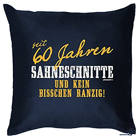 Kissen mit Innenkissen - Sahneschnitte 60 Jahre - lustiger Print - liebes Geschenk zum 60 Geburtstag - 40 x 40 cm blau : )
