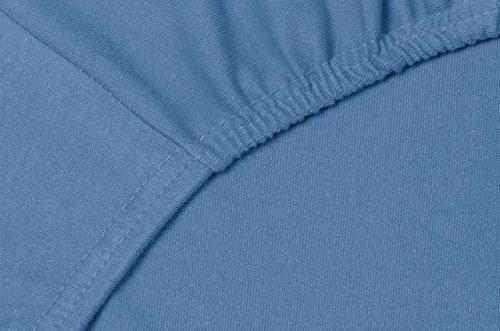 Double Jersey - Spannbettlaken 100% Baumwolle Jersey-Stretch bettlaken, Ultra Weich und Bügelfrei mit bis zu 30cm Stehghöhe, 160x200x30 Jeans Blau - 5