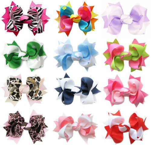 hipgirl-boutique-girls-12pc-set-small-3-spike-hair-bow-clips-barrettes-in-gift-box