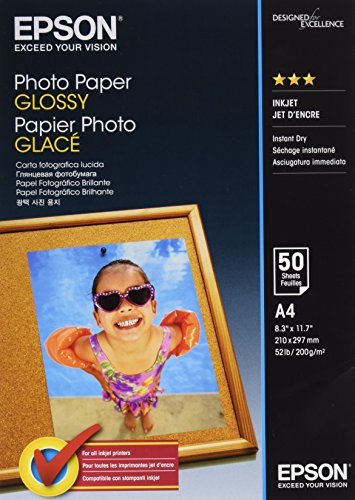 Epson carta fotografica glossy, a4, 50 fogli, bianco