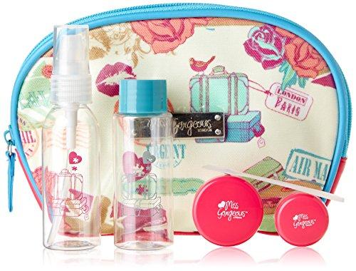 Miss Gorgeous Lovely Trousse à maquillage de voyage avec 4 vide bouteille Crème Visage Bouteille Vaporisateur Bouteille