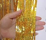 2 Pack Metallico Tinsel Tende Foil Frangia Shimmer Streamer Tenda Porta Decorazione della Finestra per Il Compleanno Forniture Festa di Nozze 3ft * 9ft - Laser Oro