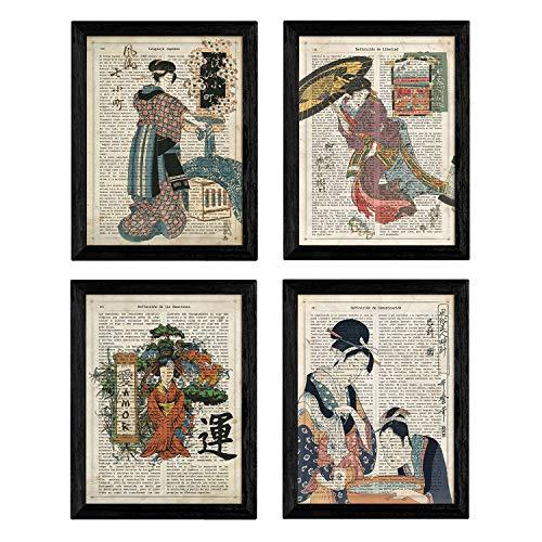 Set de cuatro láminas vintage japonesas. Con imagenes de cultura japonesa y geishas. En tamaño A4 (21x29.7cm). Impresa en papel de alta calidad 250 gramos y en tintas resistentes. Todas nuestras láminas se envían en un tubo de cartón rígido para que ...